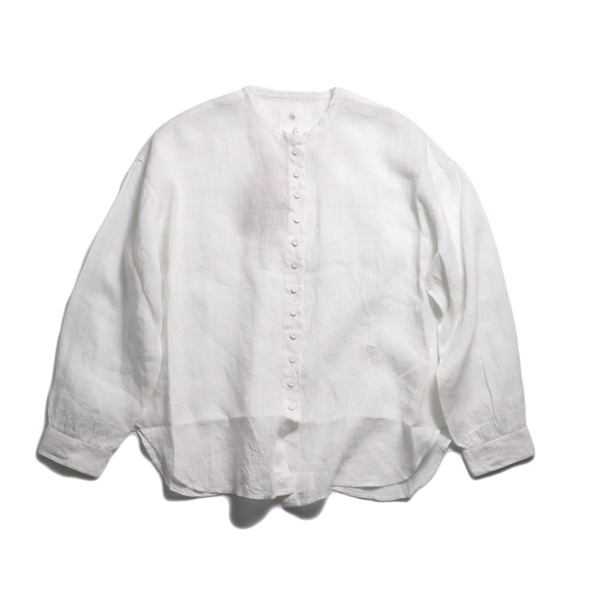 maison de soil / Lace Button Shirt -White