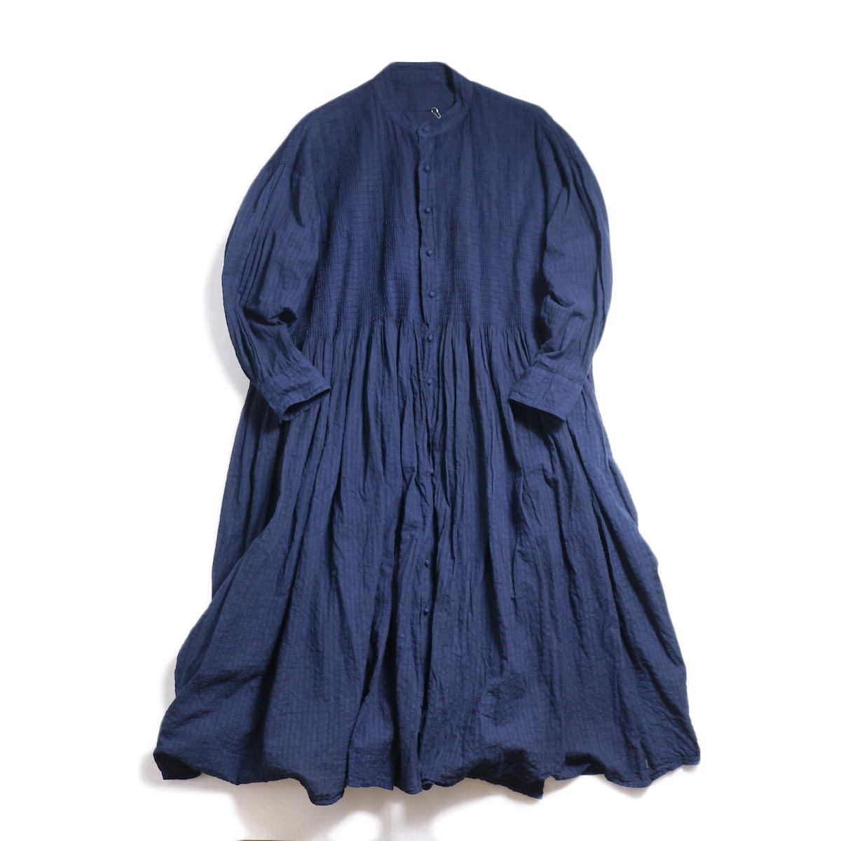 maison de soil / Banded Shirt Dress With Mini Pintuck -Indigo