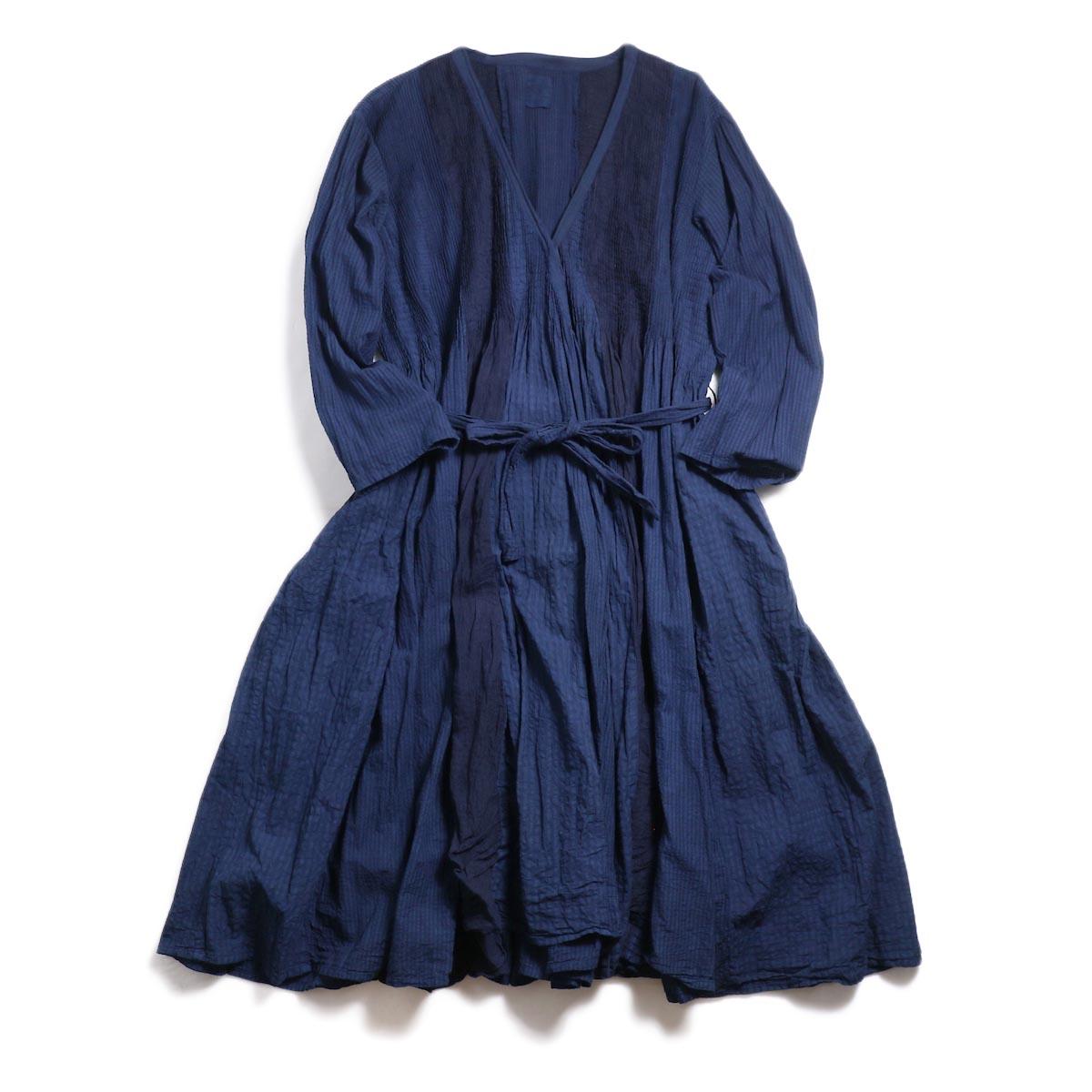 maison de soil / Mini Pintuck Wrap Dress -Indigo