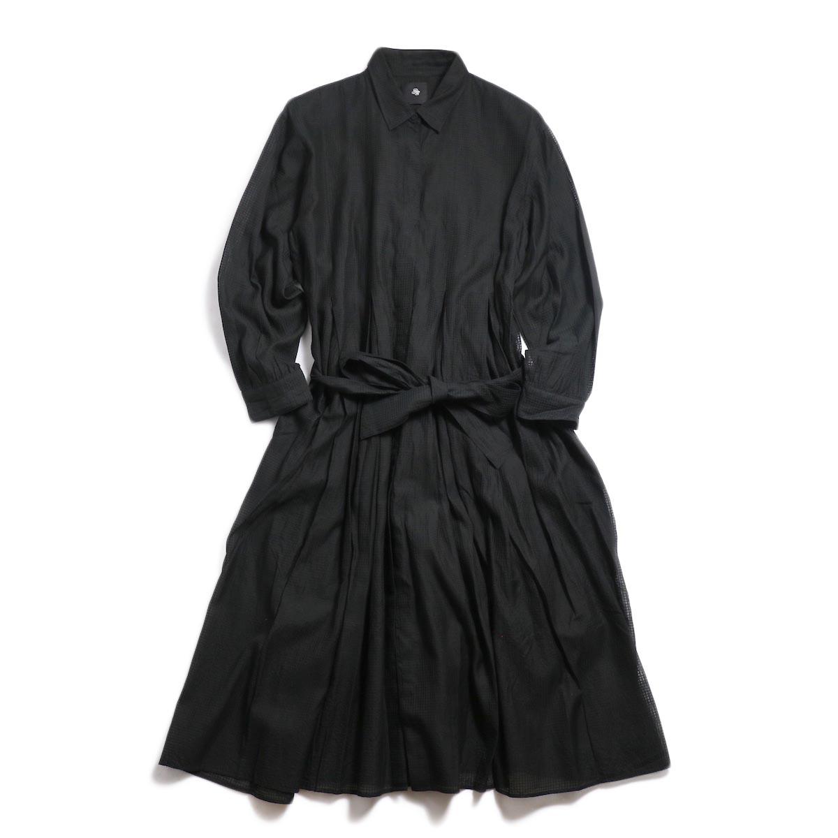 maison de soil / Inverted Pleat Shirt Dress -Black