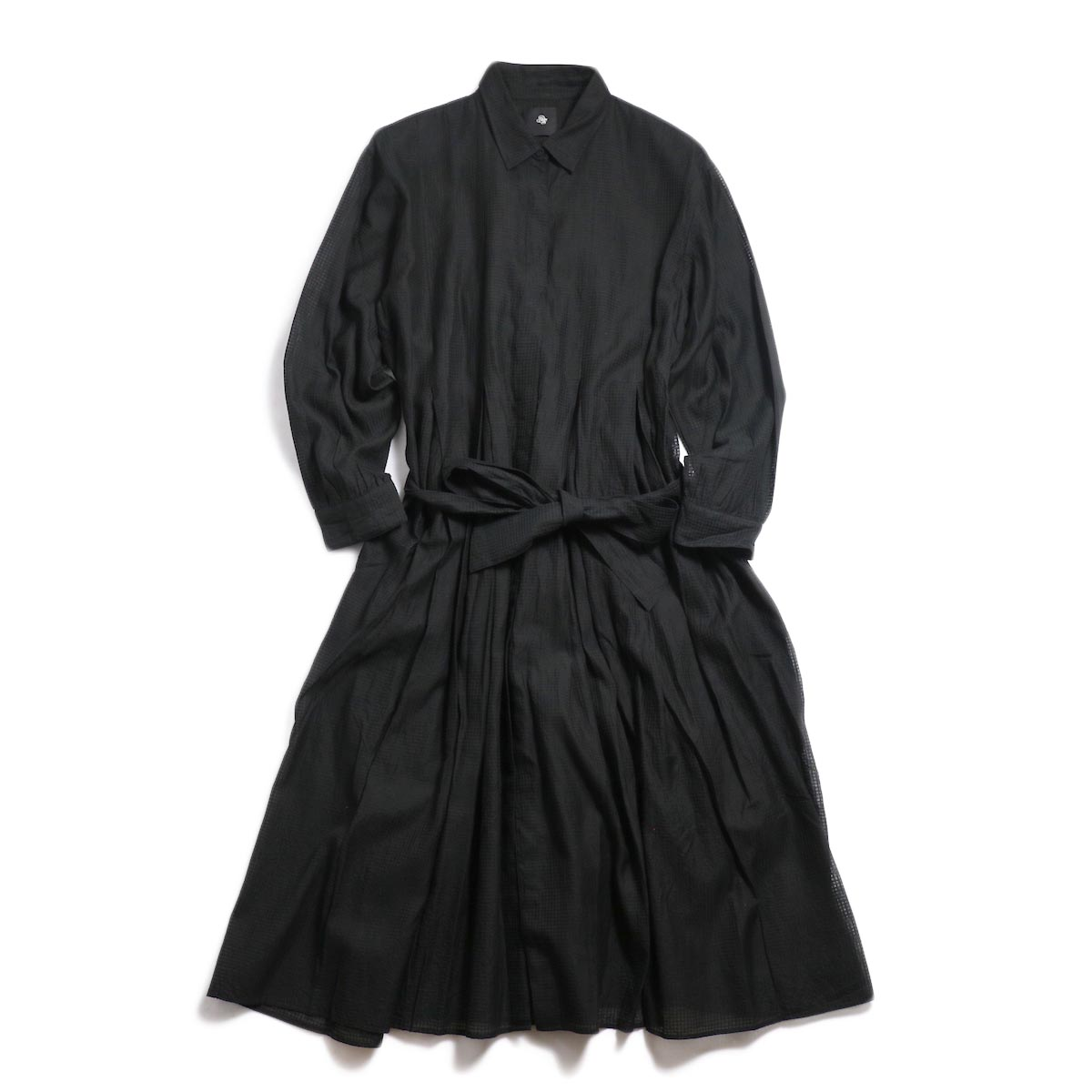 maison de soil / Inverted Pleat Shirt Dress -Black