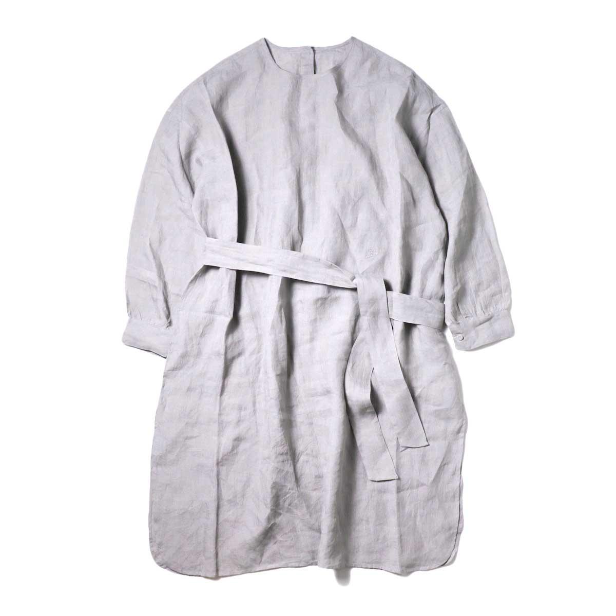 maison de soil / BACK OPENING CREN-NECK SHIRT DRESS (Med Grey)