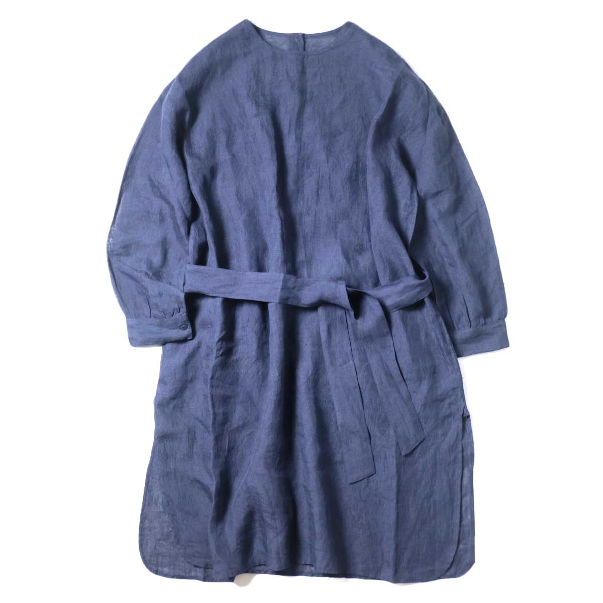 maison de soil / BACK OPENING CREN-NECK SHIRT DRESS (Navy) 正面