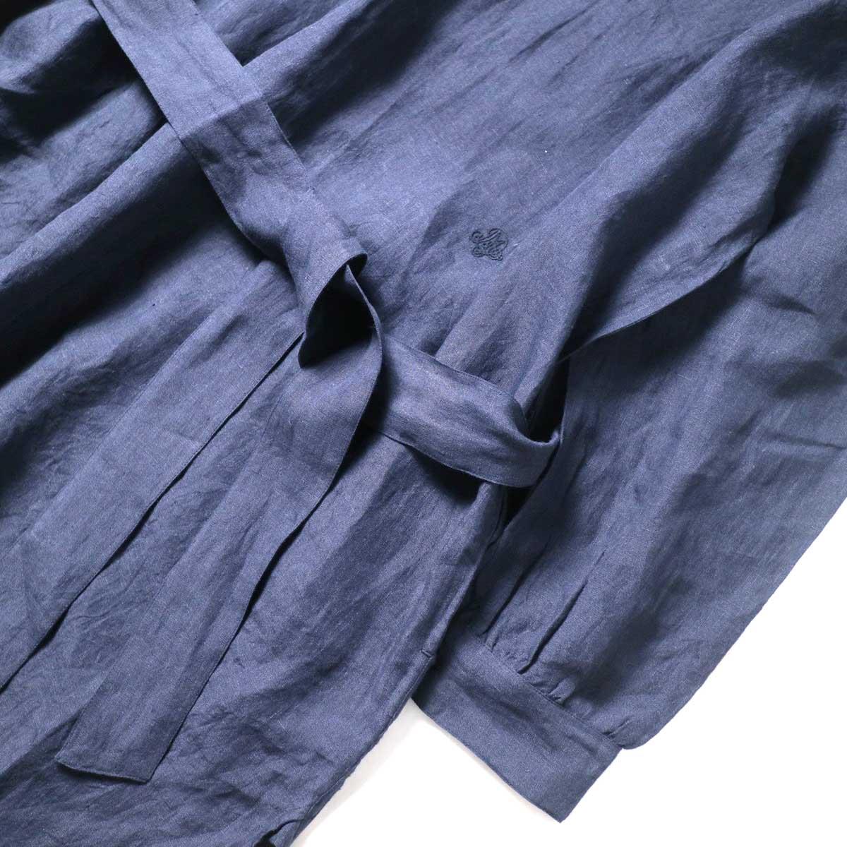 maison de soil / BACK OPENING CREN-NECK SHIRT DRESS (Navy) ウエスト