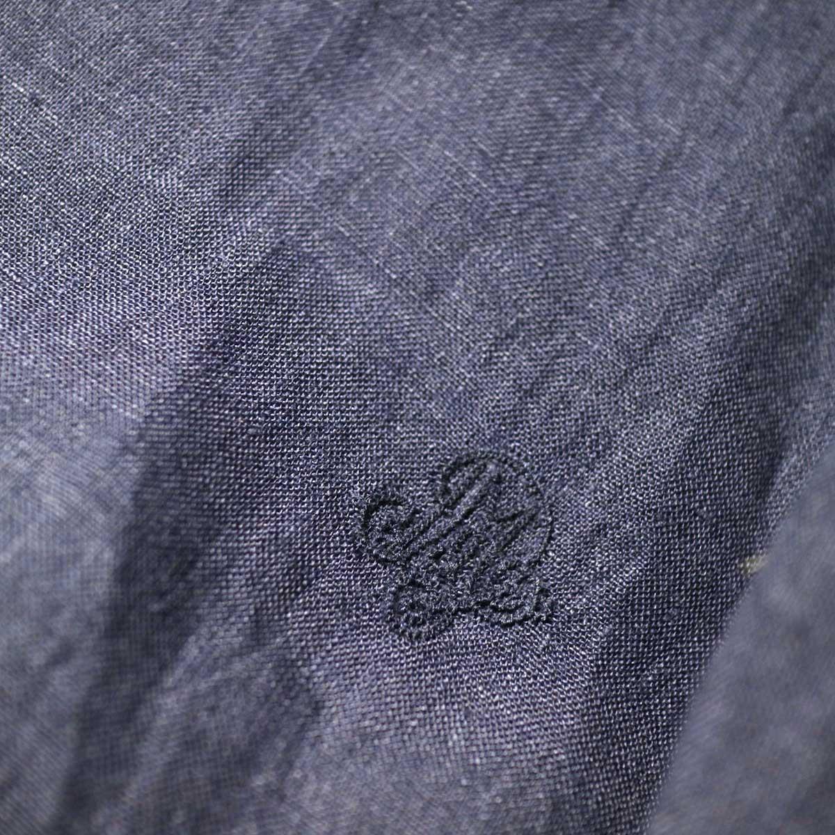 maison de soil / BACK OPENING CREN-NECK SHIRT DRESS (Navy) ウエスト・刺繍