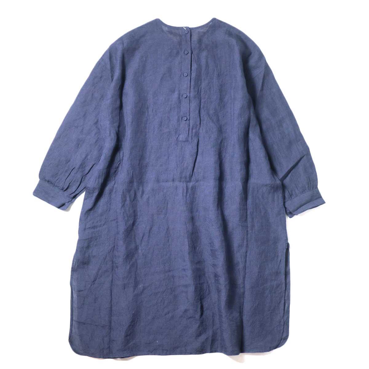 maison de soil / BACK OPENING CREN-NECK SHIRT DRESS (Navy) 背面