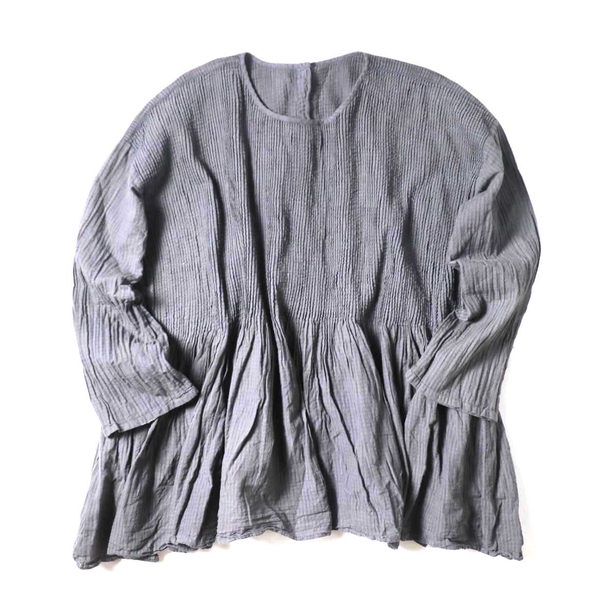 maison de soil / BANDED SHIRT DRESS WITH MINI PINTUCK (Smoke)