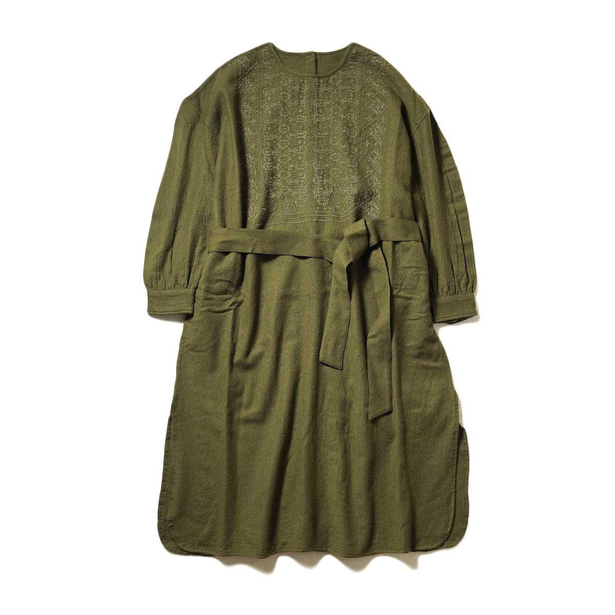 maison de soil / BACK OPENING CREN-NECK EMS SHIRT DRESS (Dk. Olive)