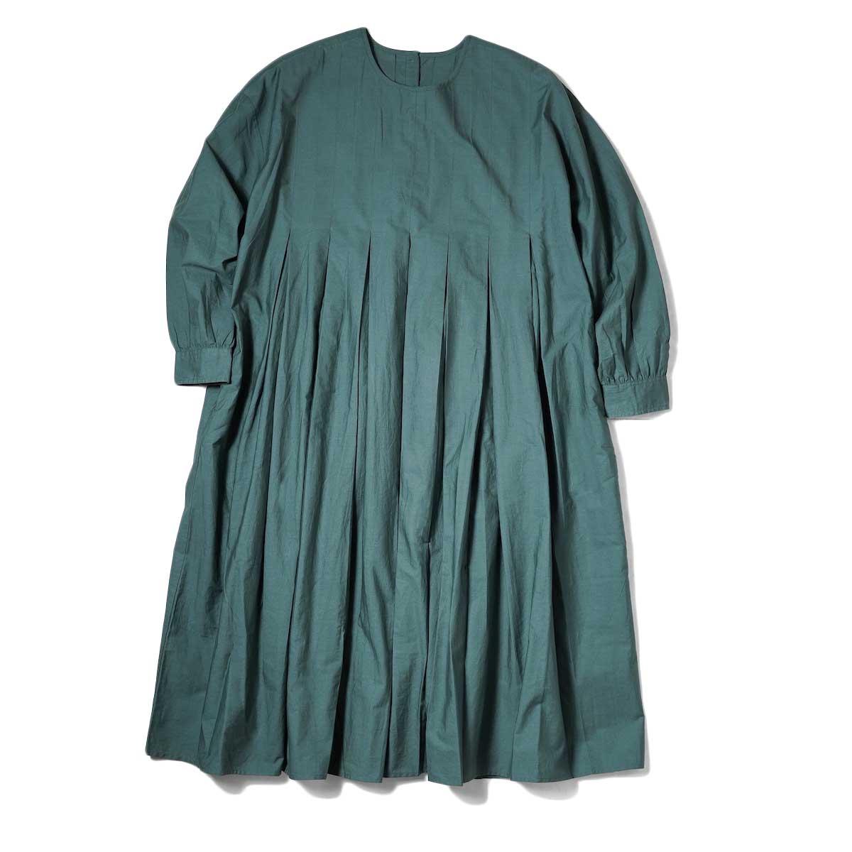 maison de soil / INVERTED PLEAT CREW-NECK P/O DRESS (Dk. Green)