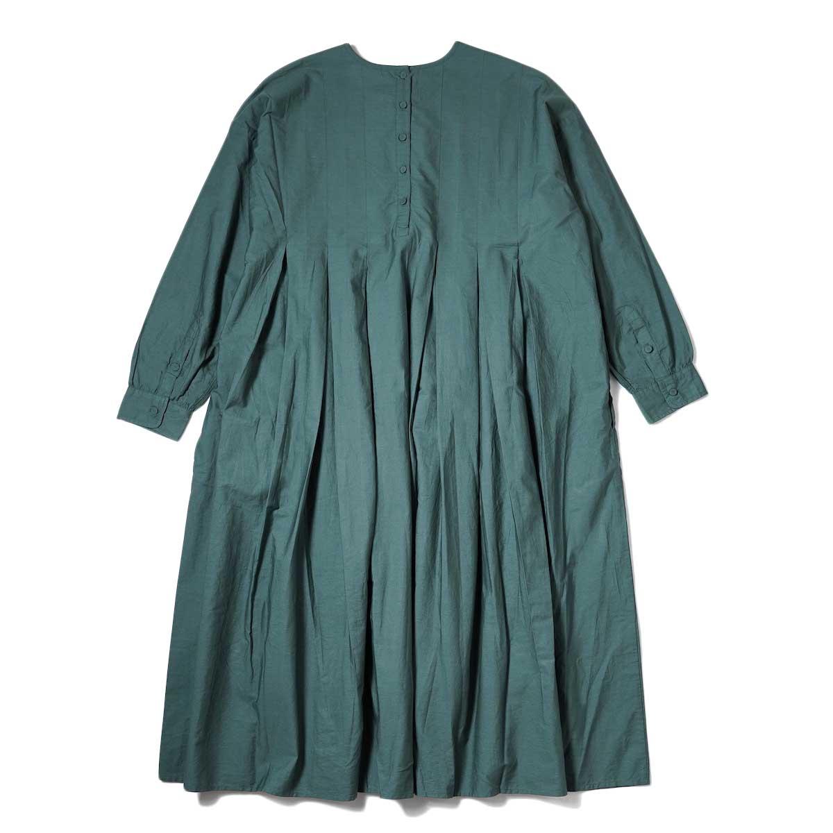 maison de soil / INVERTED PLEAT CREW-NECK P/O DRESS (Dk. Green) 背面