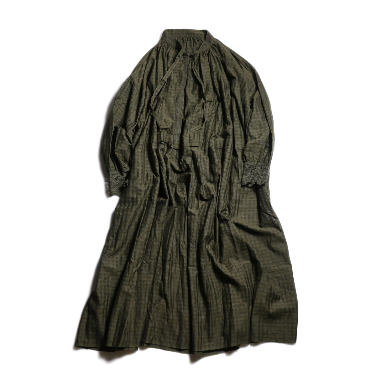 maison de soil / NECK GATHERED DRESS (Dk.Olive)