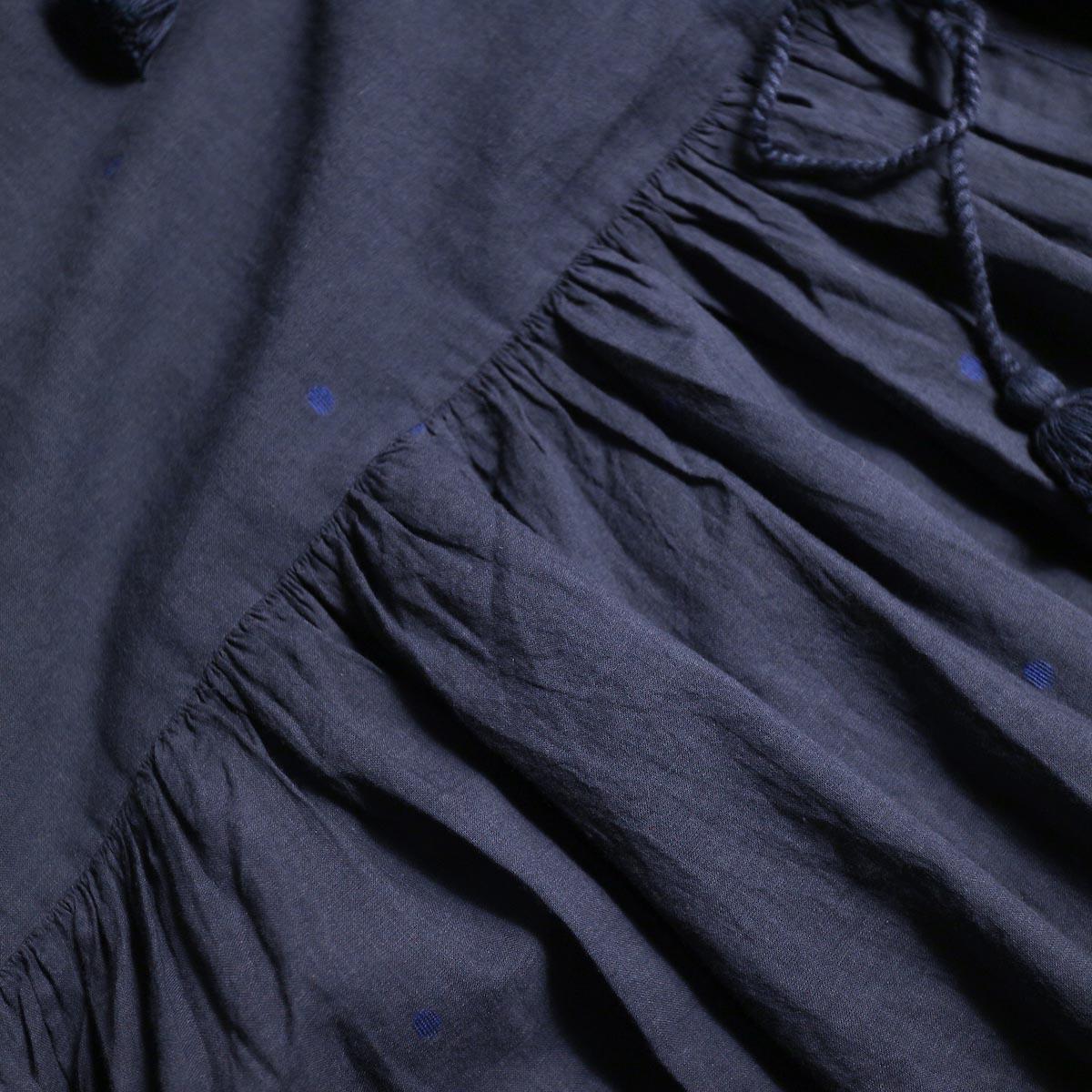 maison de soil / CACHE COEUR DRESS (NAVY/BLUEDOT)ドット、ギャザー