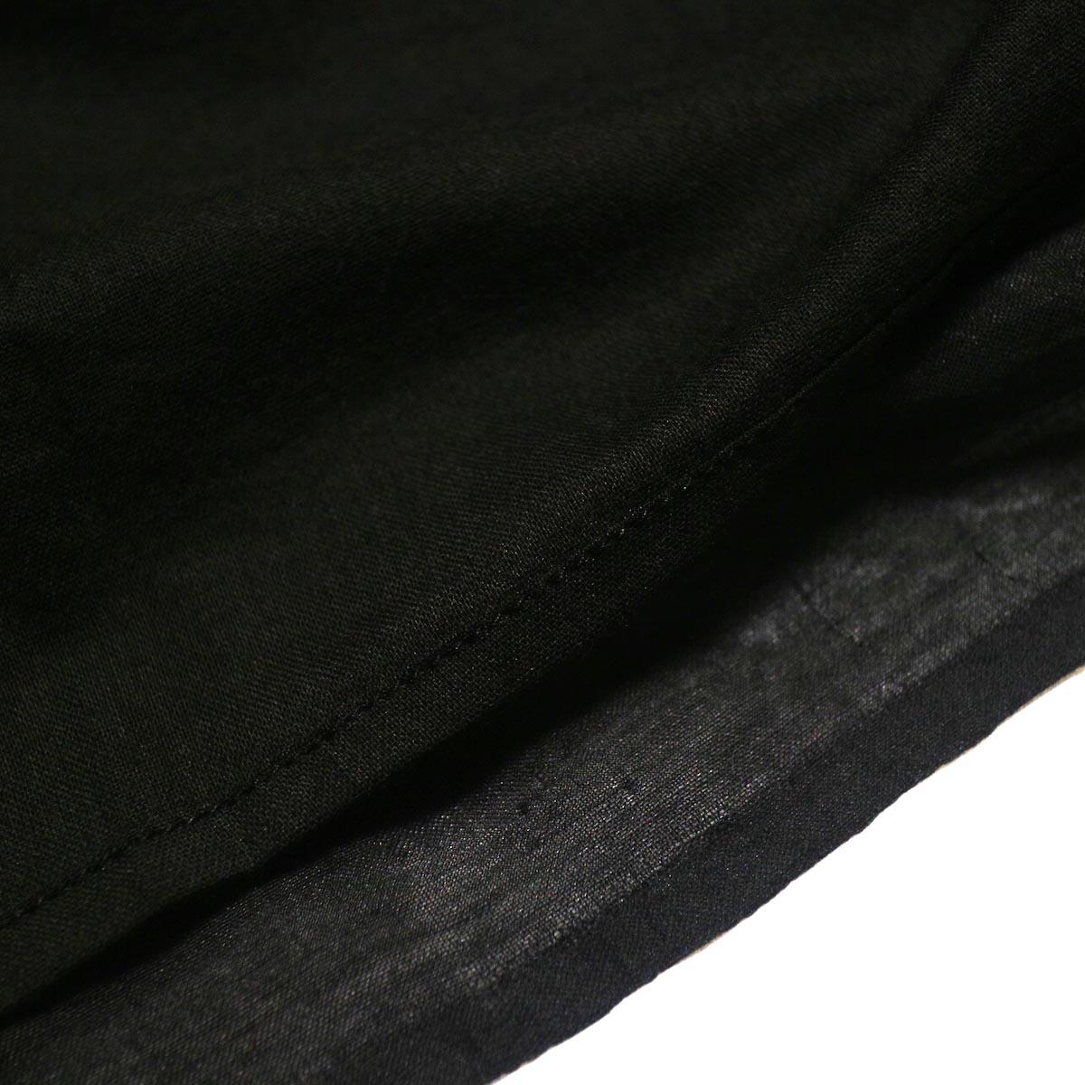 maison de soil / HAND WOVEN COTTON SILK × SILK PLAIN DROP SHOULDER DRESS (black) 裏地