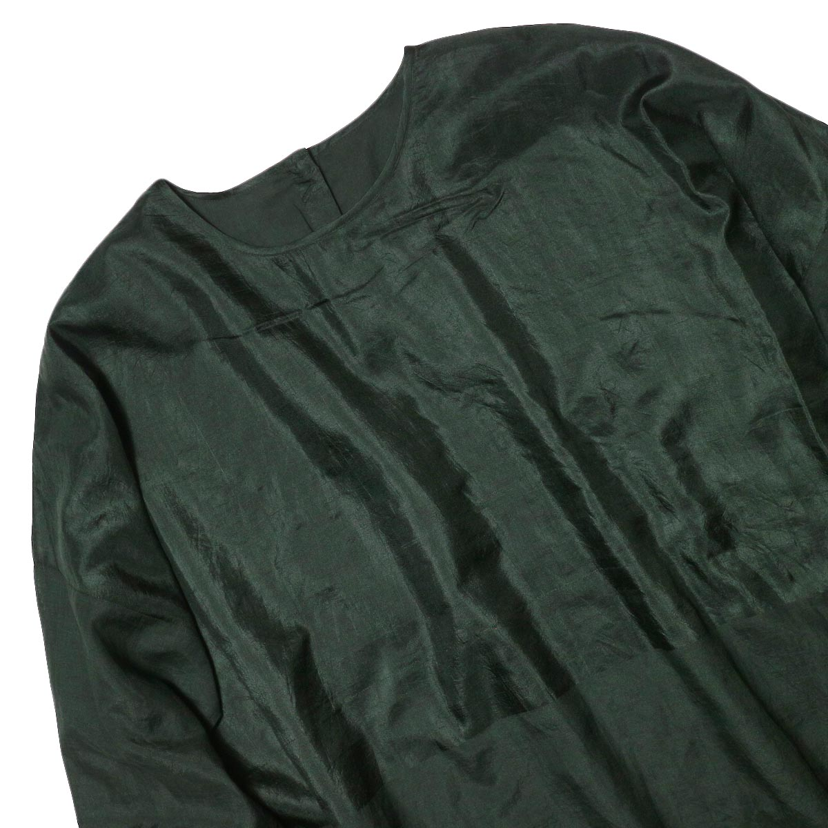 maison de soil / HAND WOVEN COTTON SILK × SILK PLAIN DROP SHOULDER DRESS (green) フロント