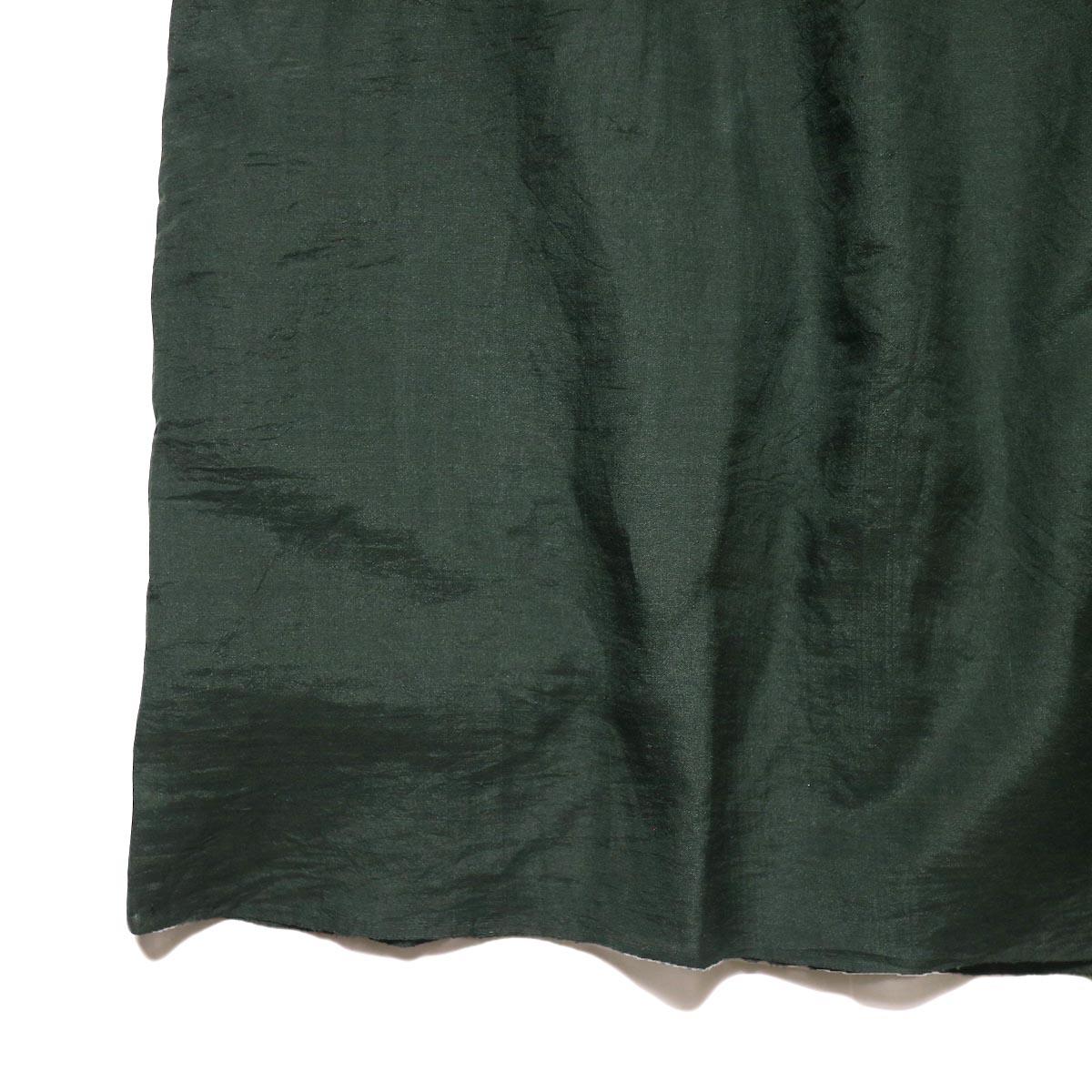 maison de soil / HAND WOVEN COTTON SILK × SILK PLAIN DROP SHOULDER DRESS (green) 裾