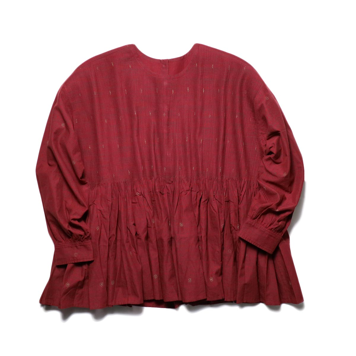 maison de soil / CREW-NECK P/O SHIRT WITH MINI PINTUCK (deep red×dk brown leaf print)