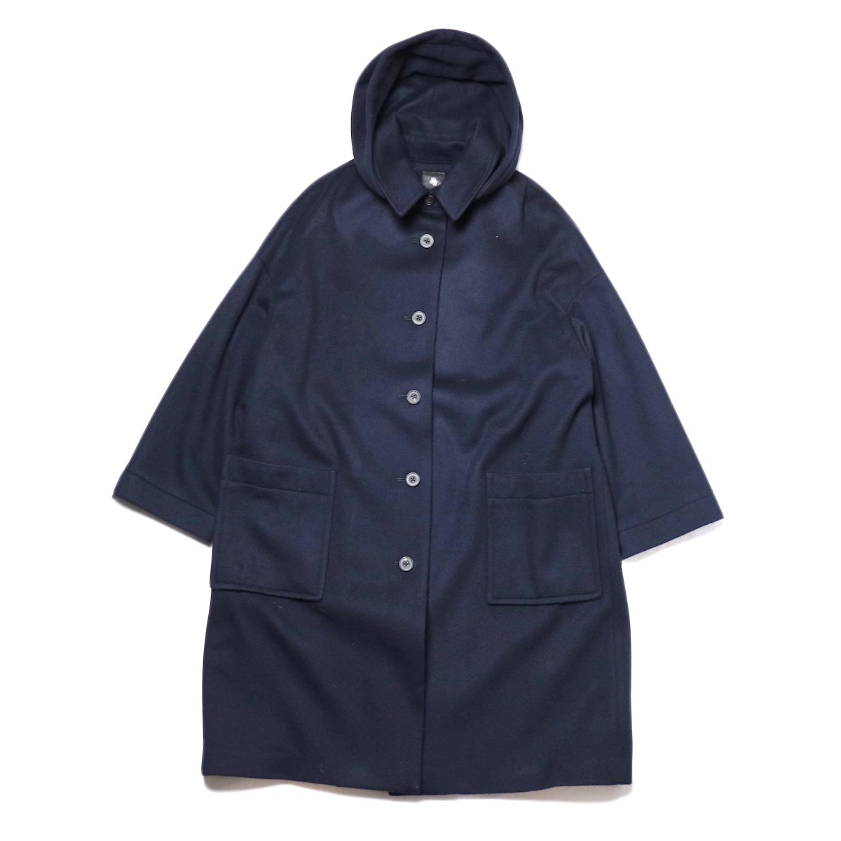 maison de soil / DETACHABLE HOODED COAT (Navy)