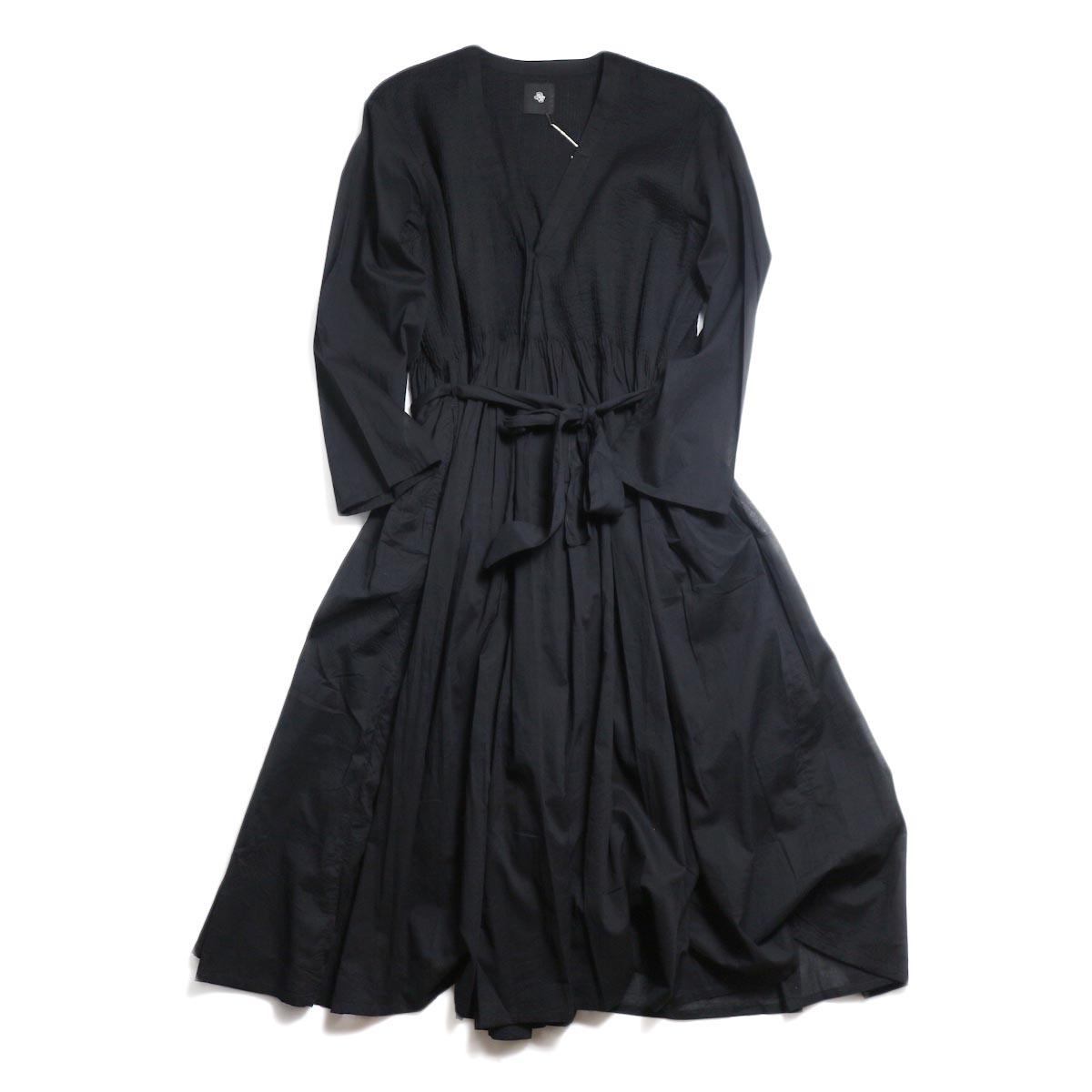 maison de soil / Mini Pintuck Wrap Dress -Black