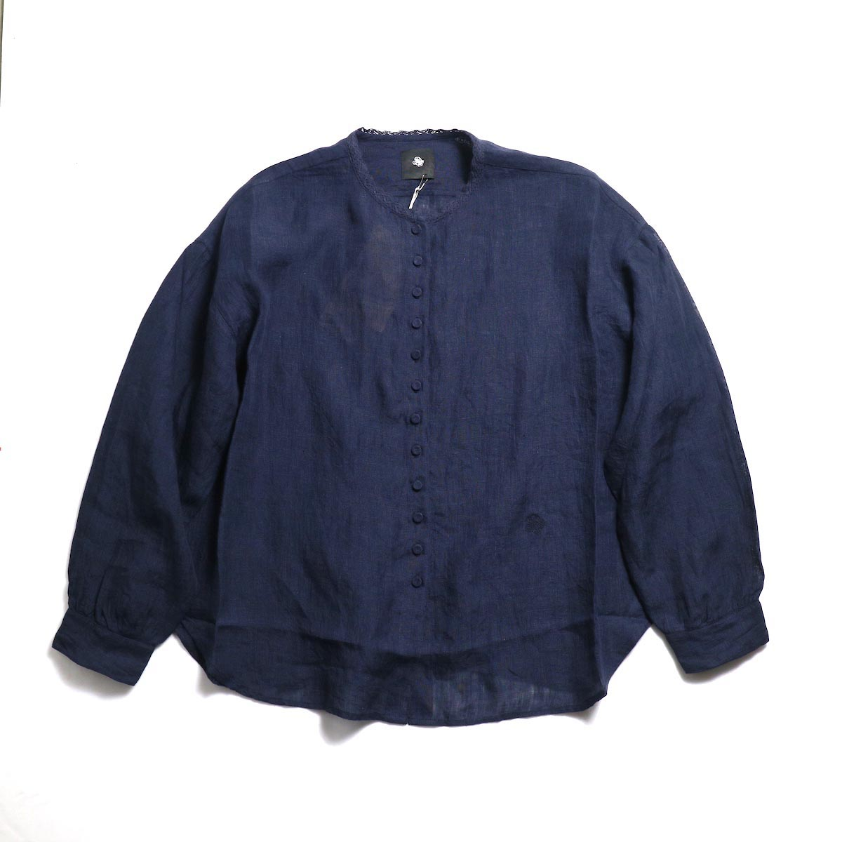 maison de soil / Lace Button Shirt -Dk.Navy