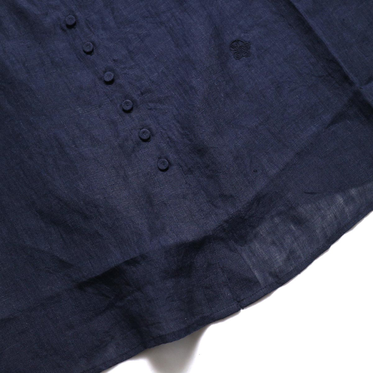 maison de soil / Lace Button Shirt -Dk.Navy 裾