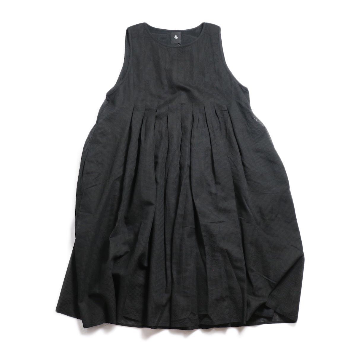 maison de soil / Inverted Pleat NO/SL Dress -Black