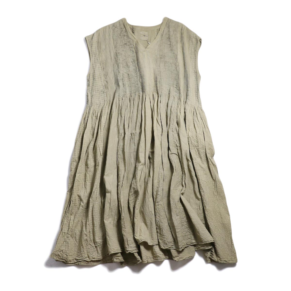 maison de soil / Mini Pintuck V-Neck Dress -Beige