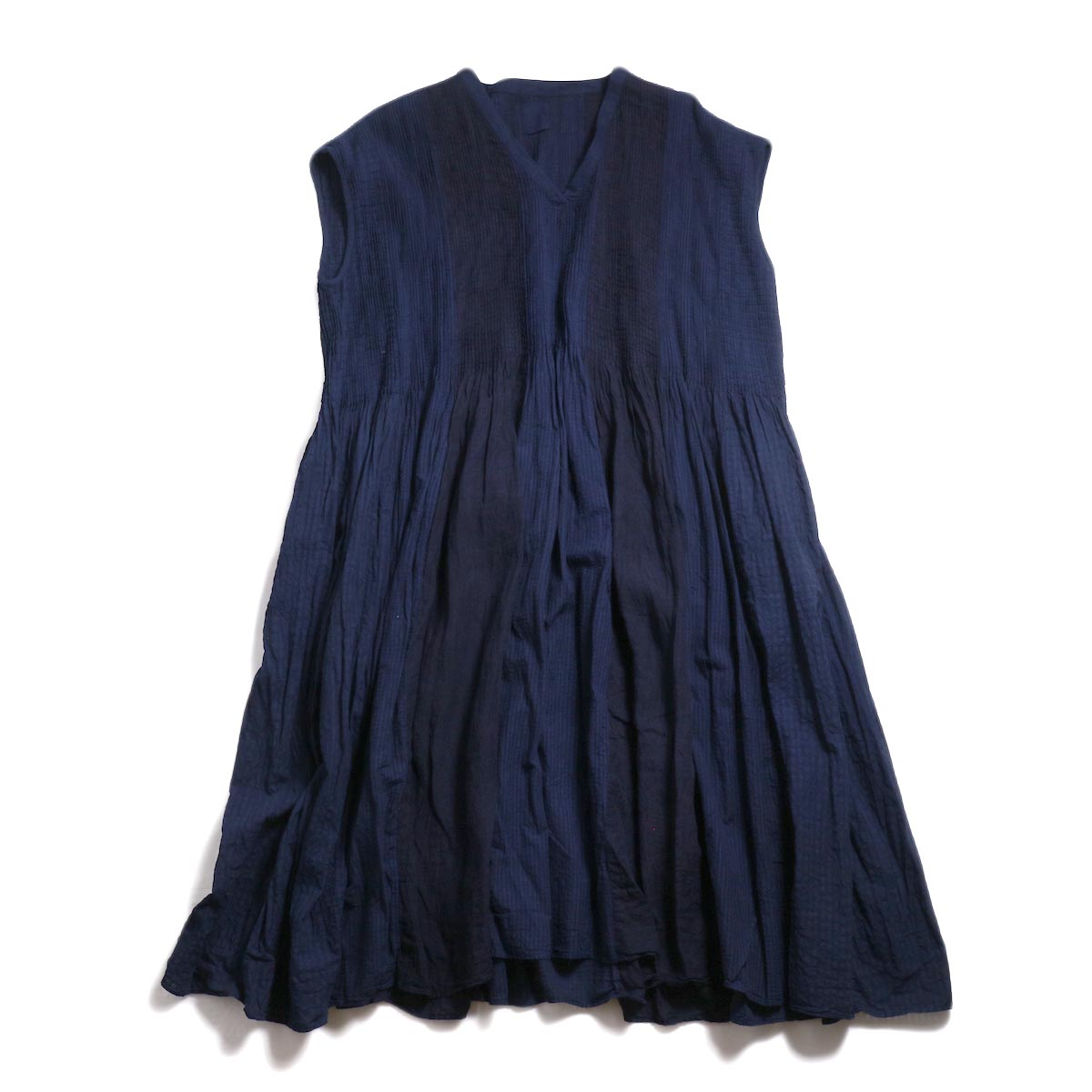 maison de soil / Mini Pintuck V-Neck Dress -Indigo