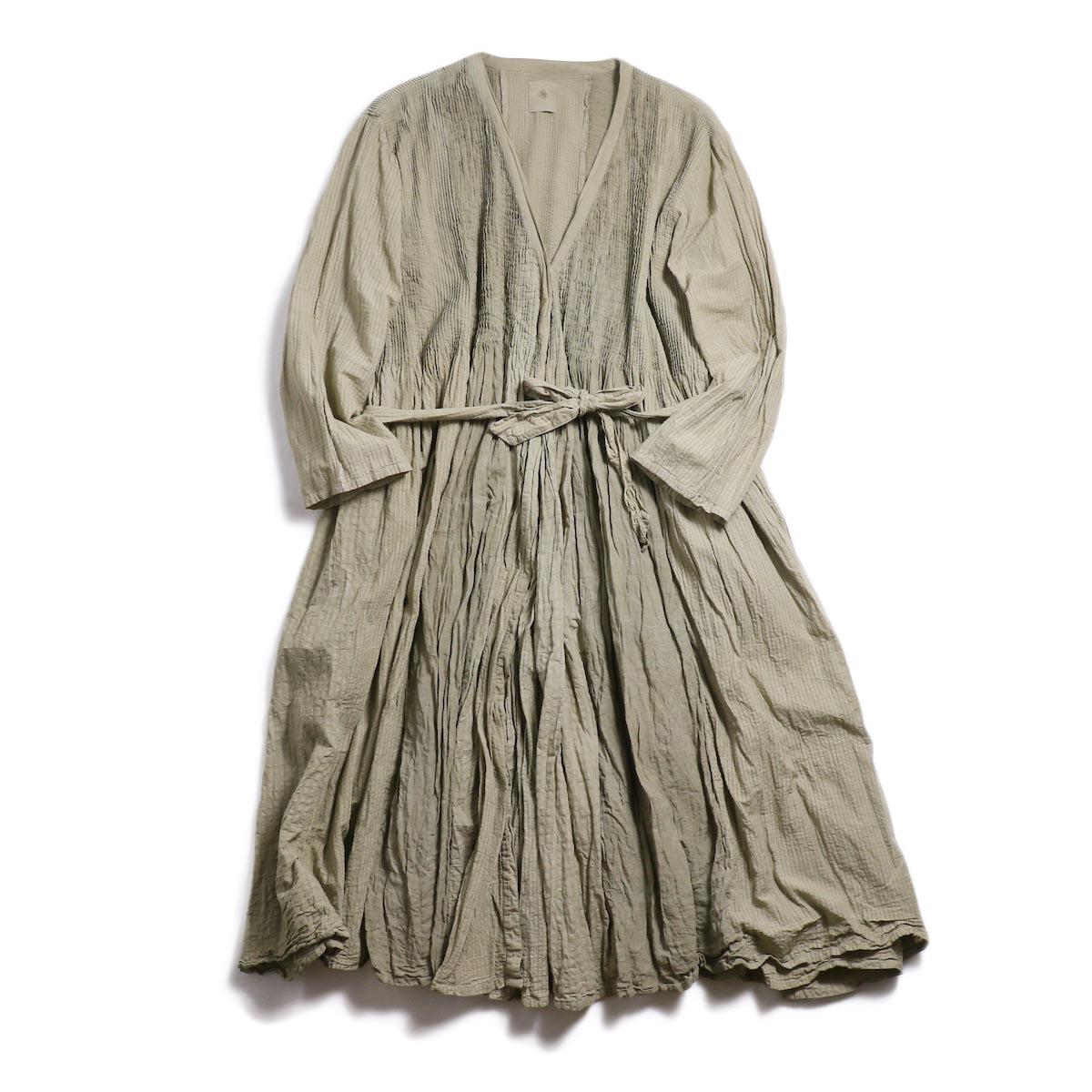 maison de soil / Mini Pintuck Wrap Dress -Beige