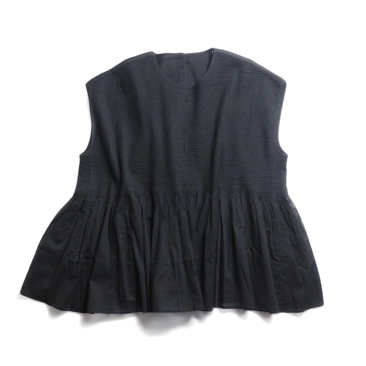 maison de soil / Crew Neck P/O Shirt With Mini Pintuck -Black