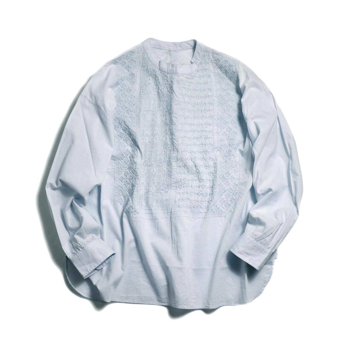 maison de soil / Pullover Stand Collar Emb Shirt -Sax Blue
