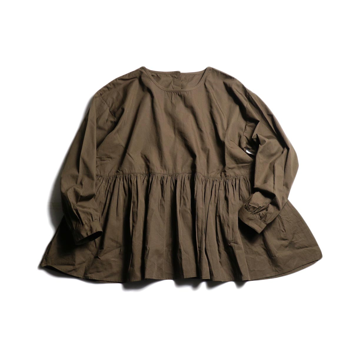 maison de soil / Rajasthan Gathered Shirt Pullover (2Way) -Brown