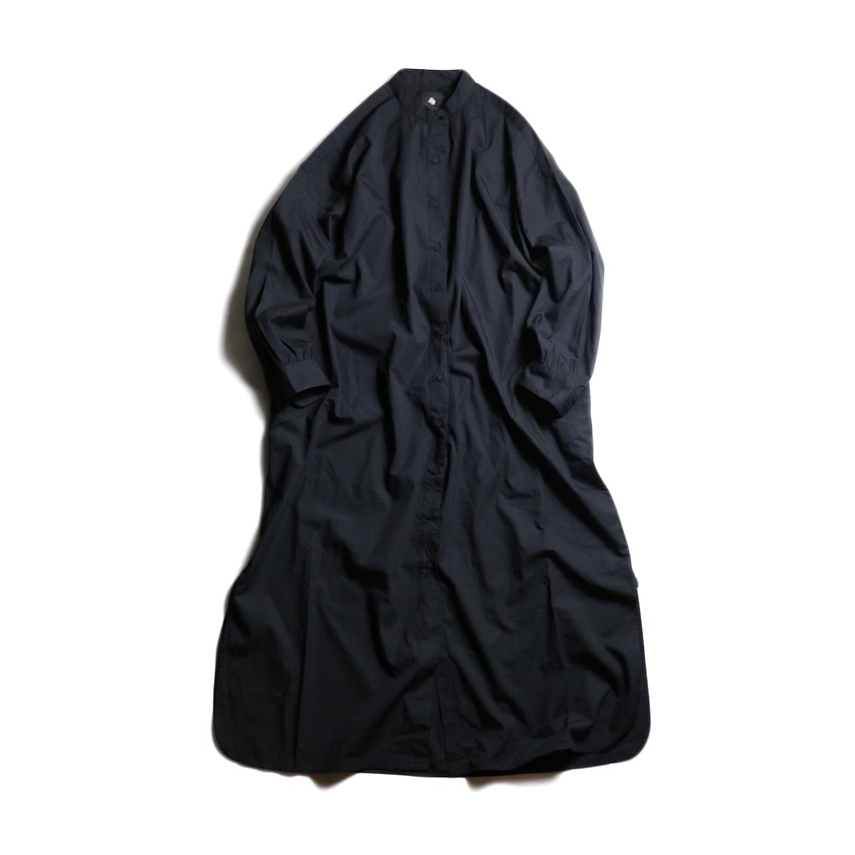 maison de soil / Band Collar Maxi Shirt -Black