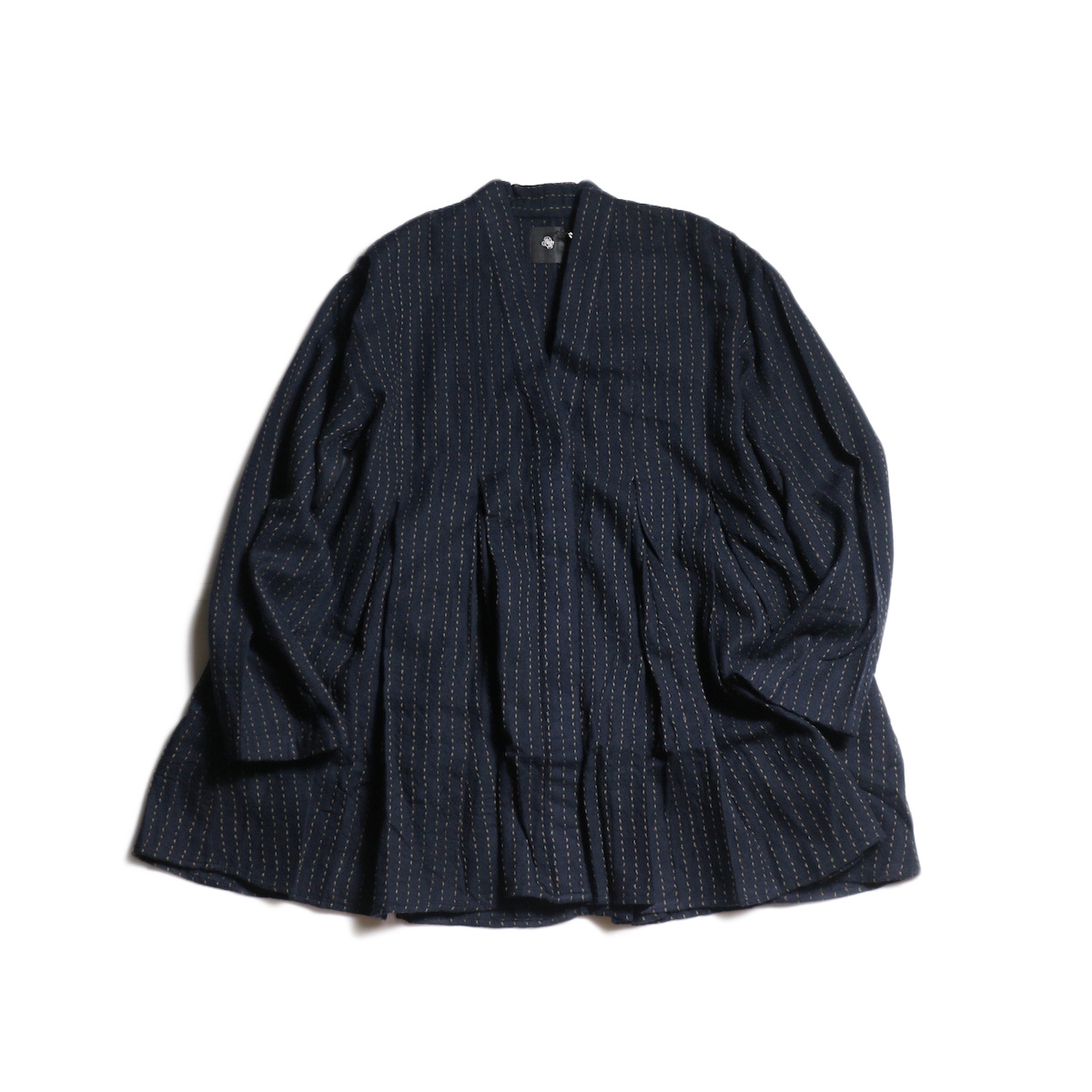 maison de soil / INVERTED PLEAT V-NECK SHIRT (Dk.Navy/Brown Stitch)