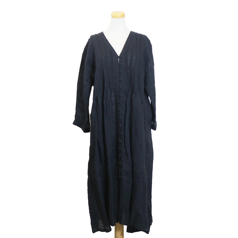 maison de soil / INMDS18132 HANDWOVEN LINEN RANDOM PLEATS V DRESS-charcoal