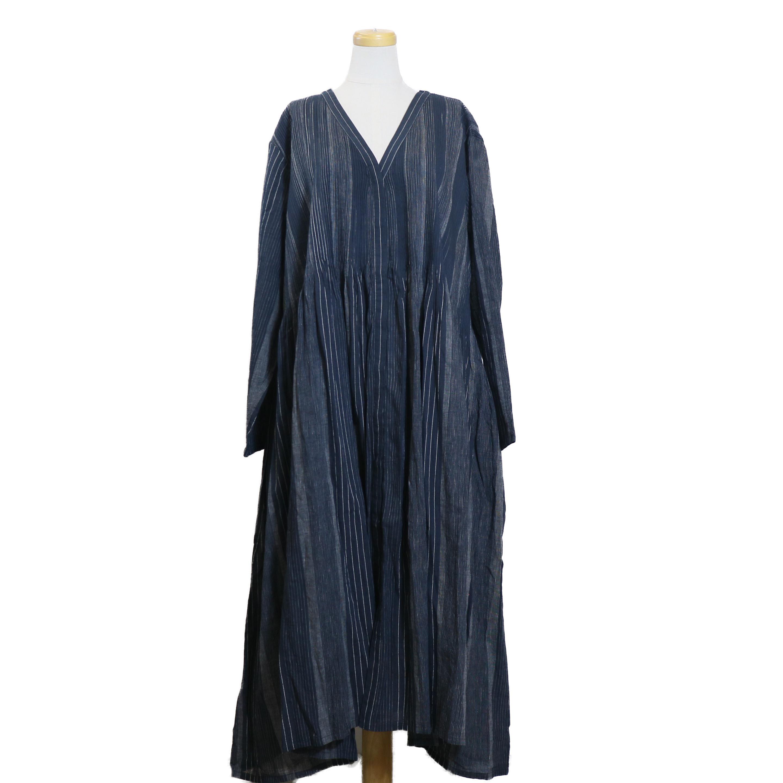 maison de soil / INMDS18164 HANDWOVEN ST MINI PINTUCK WRAP DRESS-NAVY