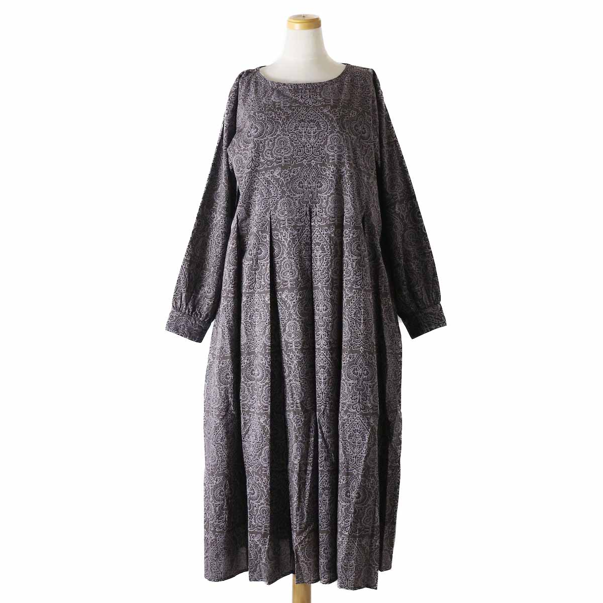 maison de soil / INMDS18633 TREE PRINT INVERTED PLEATS DRESS -CHARCOAL GREY PRINT