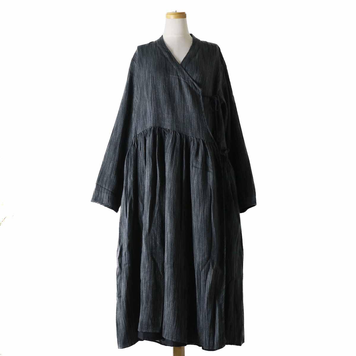 maison de soil / INMDS18642 WOOL REVERSIBLE GATHERED DRESS -BLACK×GRAY