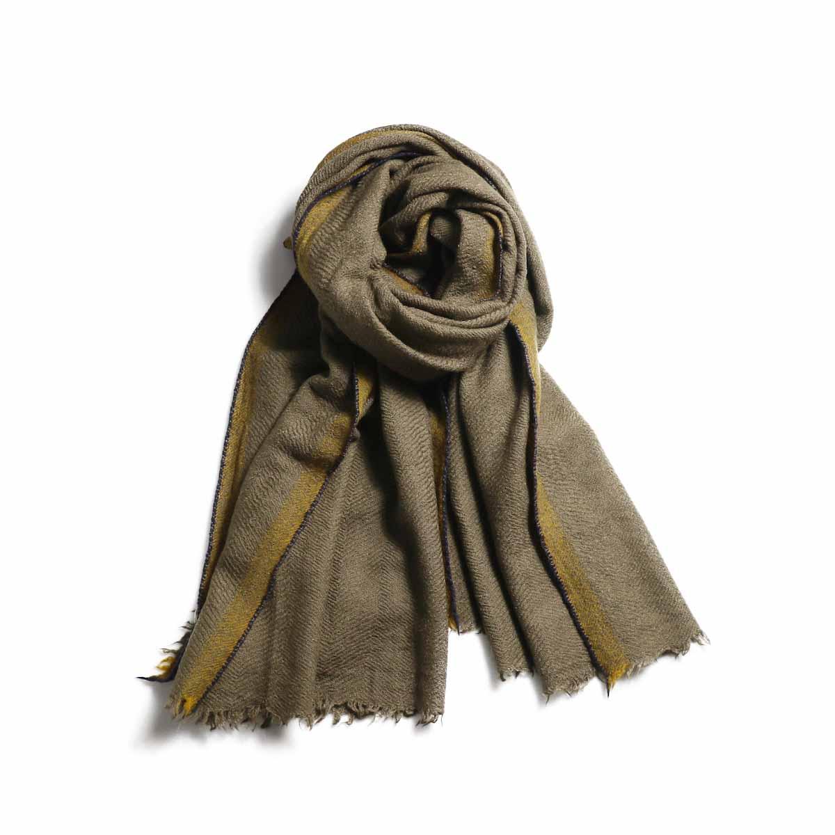 maison de soil / CNMDS18701 Wool Silk Big Selvedge Stole -Mocha×Mustard×Navy