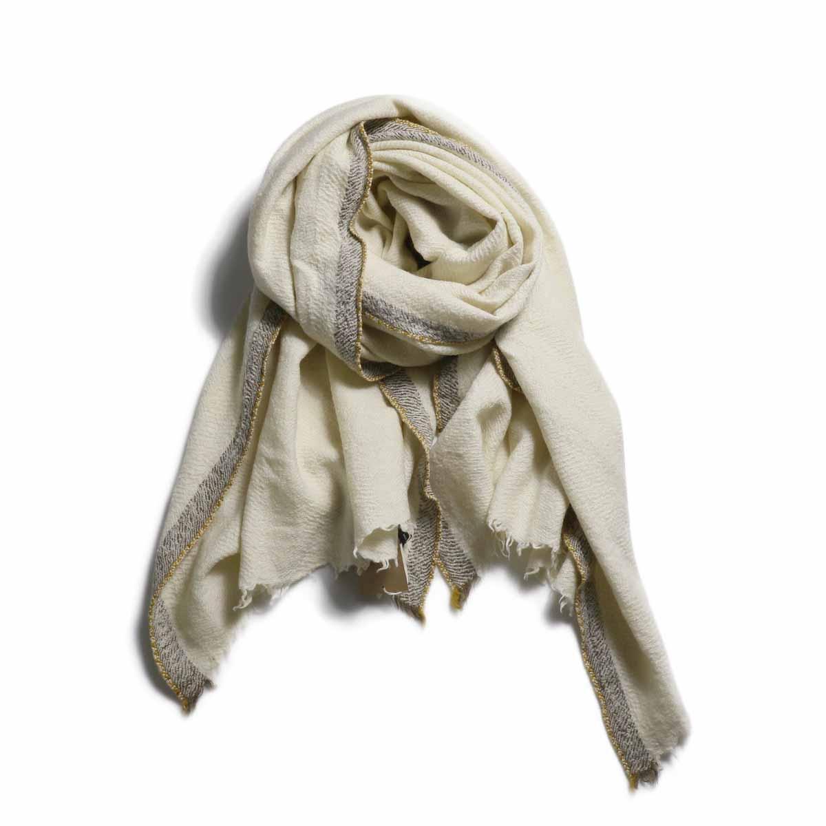 maison de soil / CNMDS18701 Wool Silk Big Selvedge Stole -Natural×Mocha×Mustard