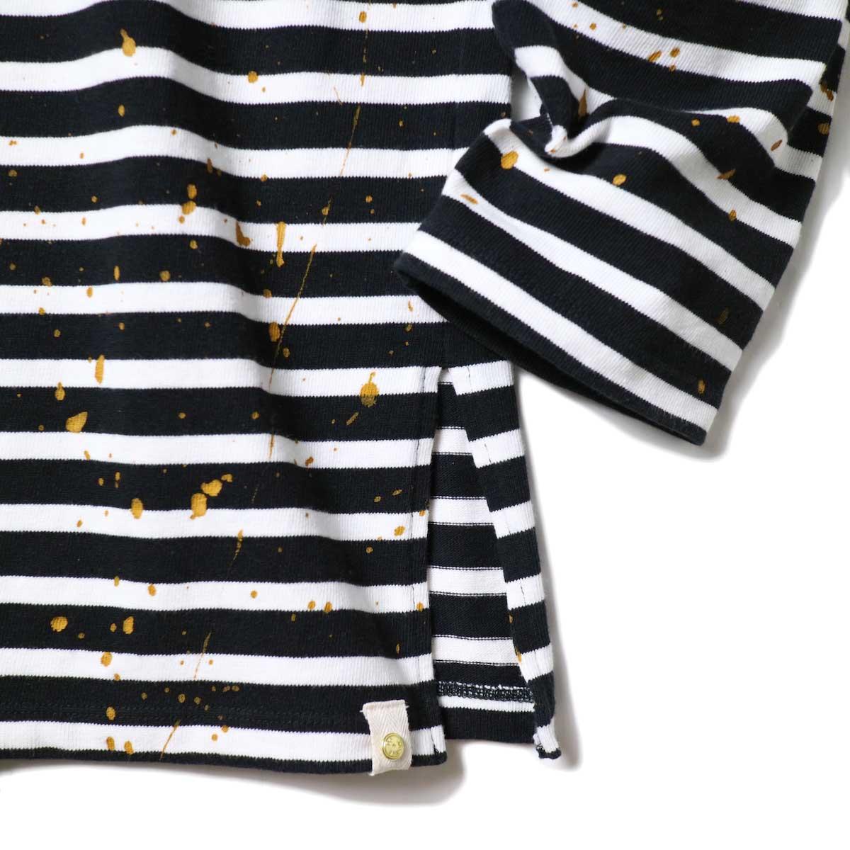 MASTER&Co. / BASQUE BORDER WITH PAINT (Black×White) 袖・裾スリット