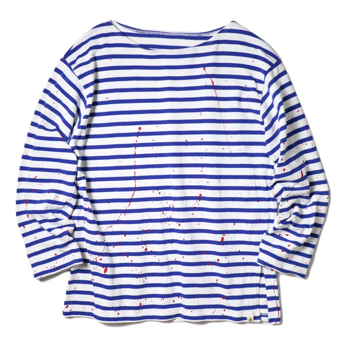 MASTER&Co. / BASQUE BORDER WITH PAINT (White×Blue) 正面