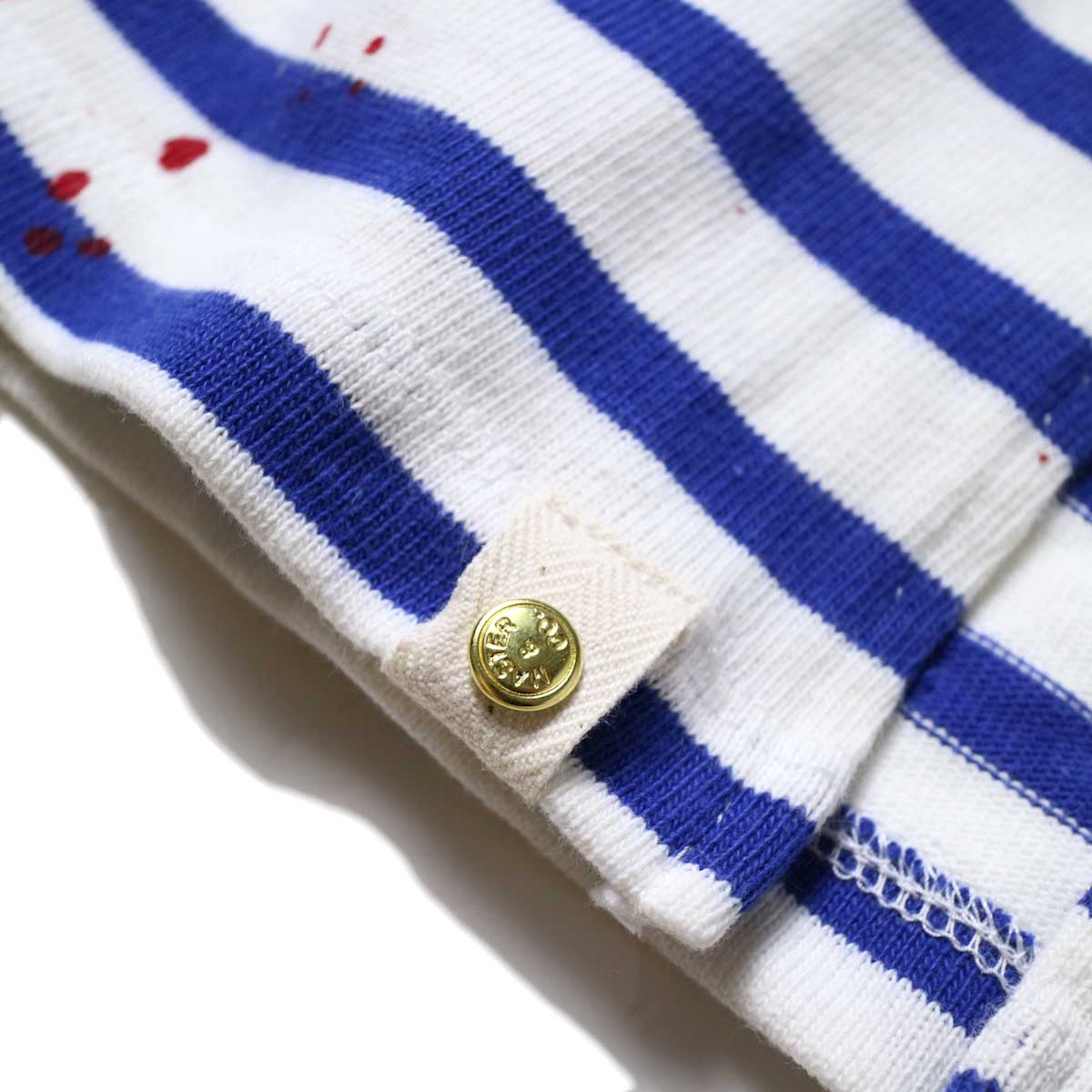 MASTER&Co. / BASQUE BORDER WITH PAINT (White×Blue) 裾リベット