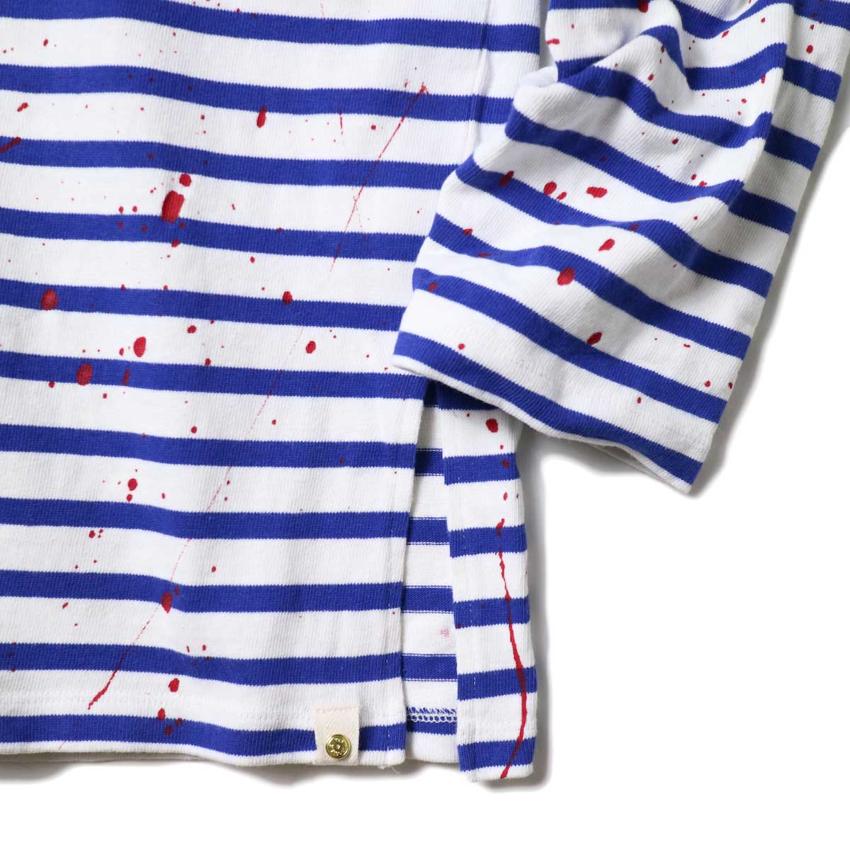 MASTER&Co. / BASQUE BORDER WITH PAINT (White×Blue) 袖・裾スリット