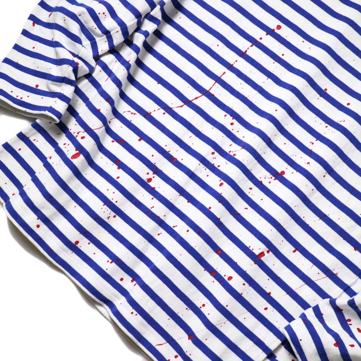 MASTER&Co. / BASQUE BORDER WITH PAINT (White×Blue) 正面ペイント