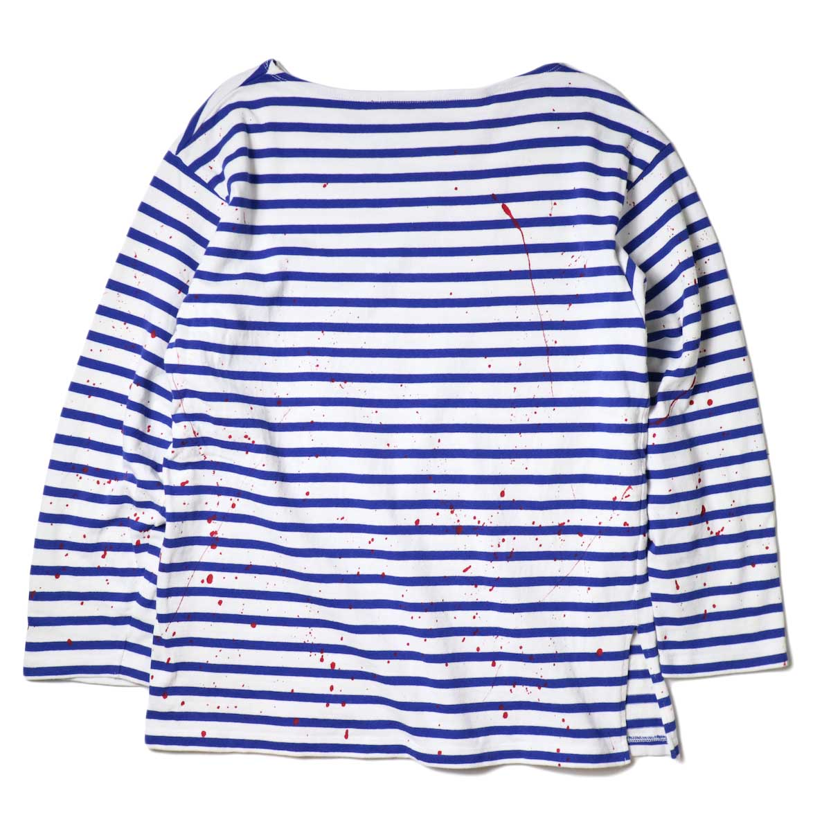MASTER&Co. / BASQUE BORDER WITH PAINT (White×Blue) 背面
