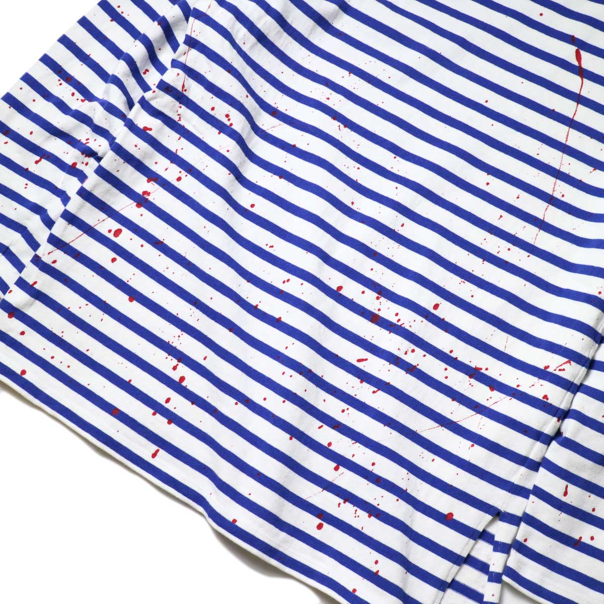 MASTER&Co. / BASQUE BORDER WITH PAINT (White×Blue) 背面ペイント