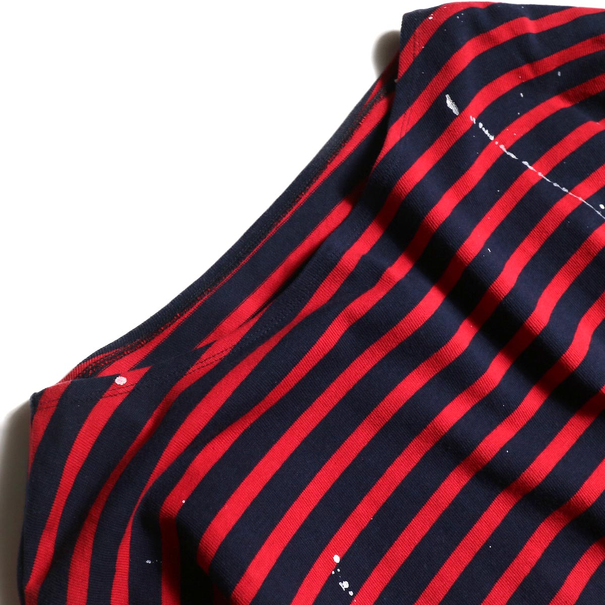 MASTER & Co. / Basque Border With Paint (Navy × Red)ボートネック