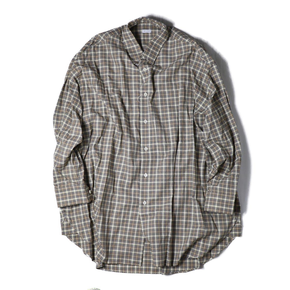 MY_  / Big LS Shirts -BEIGE CHECK