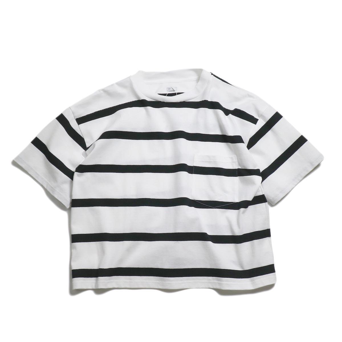 MY_ / Border Pocket T-Shirt -White