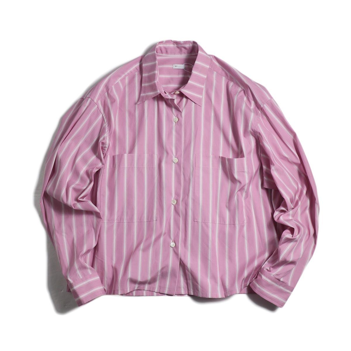 MY_ / Cropped Stripe Shirt -Pink Stripe